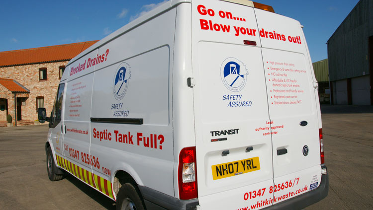 Whirk Waste van providing domestic drain jetting service